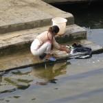 washing up on the riverside