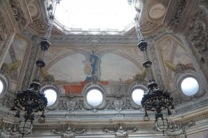 detail of ceiling above the monumental staircase